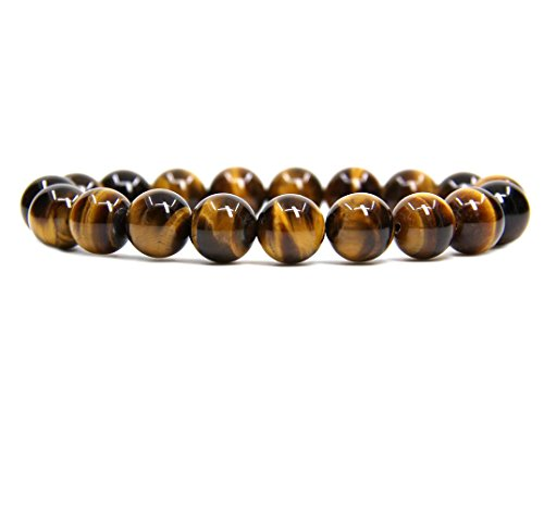 Golden Tigers Eye Bracelet (Natural A Golden Tiger Eye Genuine Semi-Precious Gemstones Healing 10mm Beaded Stretch Bracelet 7