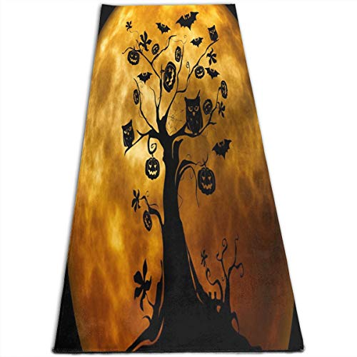 Yoga Mat Halloween Tree Owl Unique 1/4-Inch Thick Sports Mats For Pilates, Fitness & -