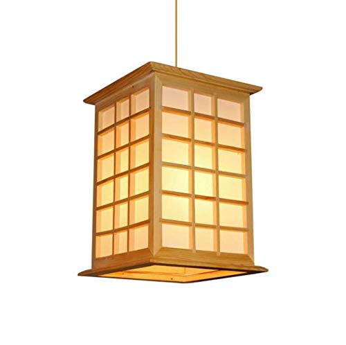Vintage Inn Hotel - GJX Vintage Pendant Lamp, Japanese Tatami Imitation Parchment Pendant Lights, Restaurant Hotel Inn Bedroom Study New Chinese Solid Wood Chandelier, E27