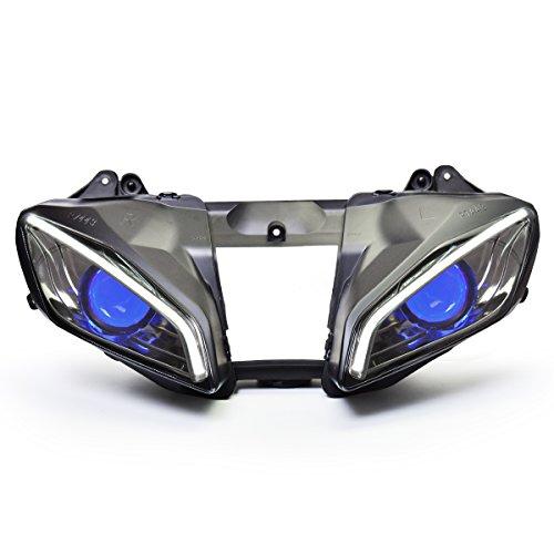 KT LED Optical Fiber Headlight Assembly for Yamaha R6 2008-2016 V2 Blue Demon Eye