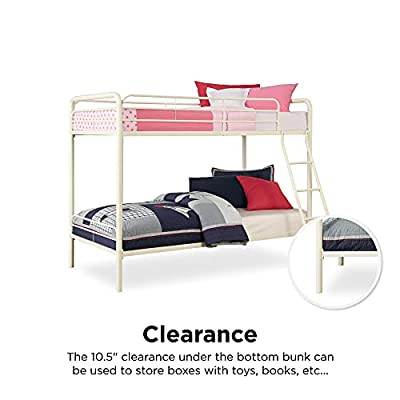 Buy Dhp Twin Over Twin Bunk Bed With Metal Frame And Ladder Space Saving Design White Online In Indonesia B004lq1r24