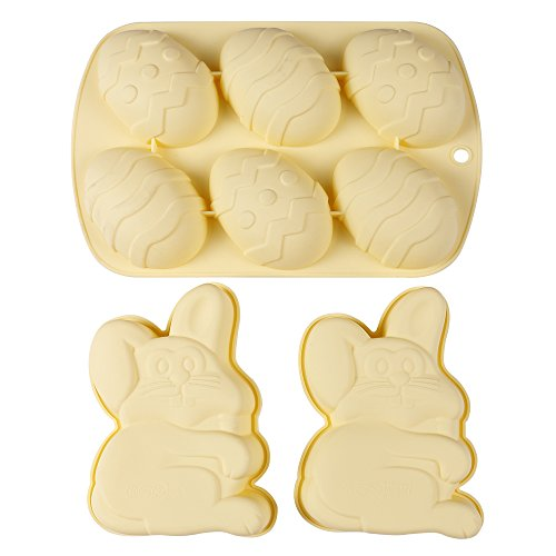 Webake Easter Day Silicone Cake Mold Easter Day Rabbit and Eggs Shaped Non-Stick Baking (Easter Rabbit Eggs)