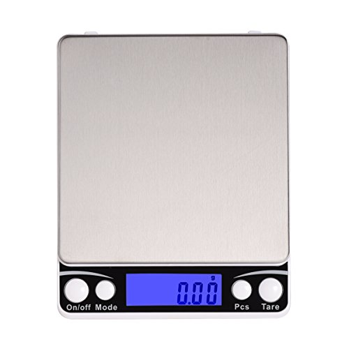 Xornis 500g x 0.01g Digital Pocket Scales Portable High Precision Jewelry Food Coffee Tea Kitchen Scale with Stainless Steel Platform, Back-Lit LCD Display, Tare and PCS Features (2 Trays Included) by Xornis
