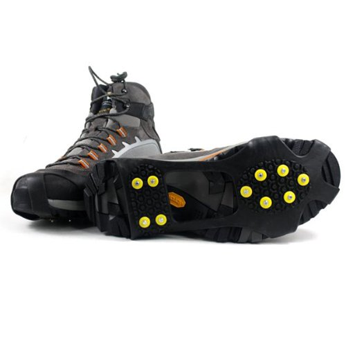 Black Snow Stretch Ice Crampons on Fit Traction L Size Cleats grips Ice Pixnor Universal Slip Spikes xwaAq00ZX8