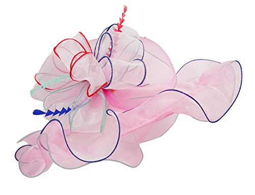 Bellady Organza Hats for Women Ruffles Wide Brim Floral Kentucky Church Hat,Light Pink Church Hats for Women, One Size ()