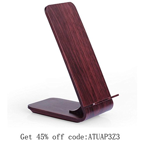 Fast Wireless Charger, Yolike A8 Red Wood Grain 2 Coils Qi Wireless Charger Charging Stand for iPhone X, iPhone 8/8 Plus, Fast Charging for Samsung S9 S9+ Note8 S8 S8+ S7 S7 Edge S6 Edge+ Note5 by YOLIKE