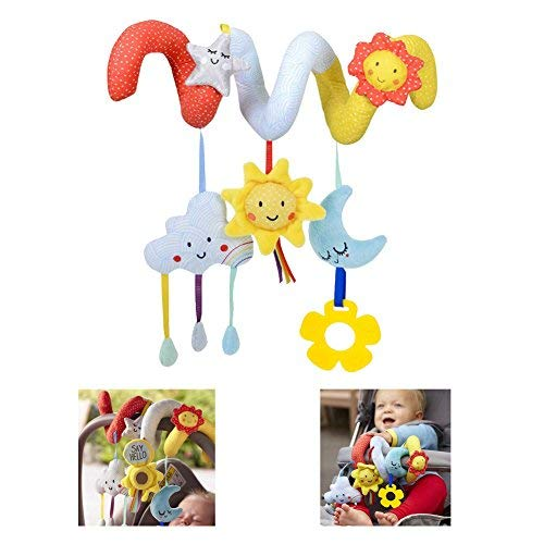 (HTOYES Hanging Toys - Kid Infant Stroller Wrap Around Toy Baby Crib Cot Pram Hanging Rattles Spiral Stroller Car Seat Toy with Sun Moon Cloud Star )