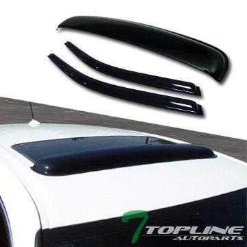Topline Autopart Smoke Window Deflector Vent Shade Guard + Sunroof Moonroof Sun Moon Roof Visors 3 Pieces For 96-00 Honda Civic 2 Door Coupe / 3 Door Hatchback EK EK9