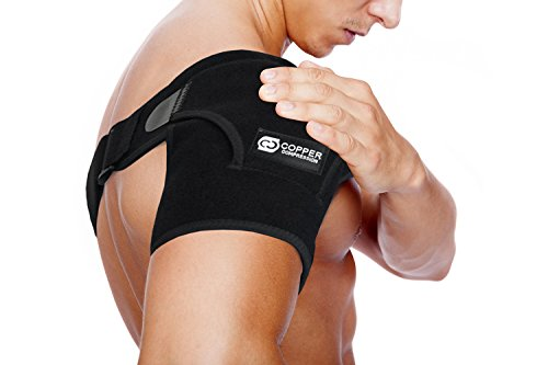 (Copper Compression Recovery Shoulder Brace - Highest Copper Content Shoulder Stability Support Brace. Adjustable Fit Sleeve Wrap Men Women. Relief for Shoulder Injuries, Tendonitis (One Size Regular))