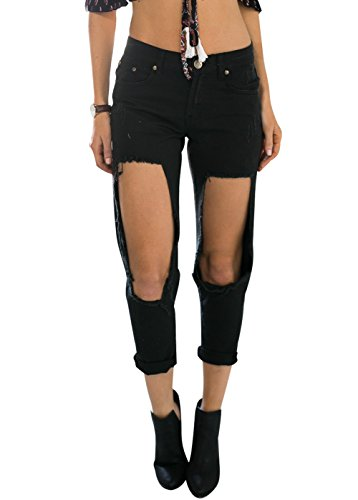 Wink Gal Women's Boyfriend Broken Hole Washed Denim Jeans Black Size XS