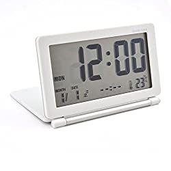 MeterMall Home Decor Multifunction Silent LCD Digital Large Screen Travel Desk Electronic Alarm Clock, Date/Time/Calendar/Temperature Display, Snooze, Folding (White+Silver)