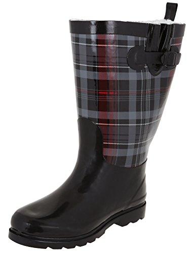 Capelli New York Ladies Scottish Plaid Print Tall Rubber Rain Boot Black Combo 9