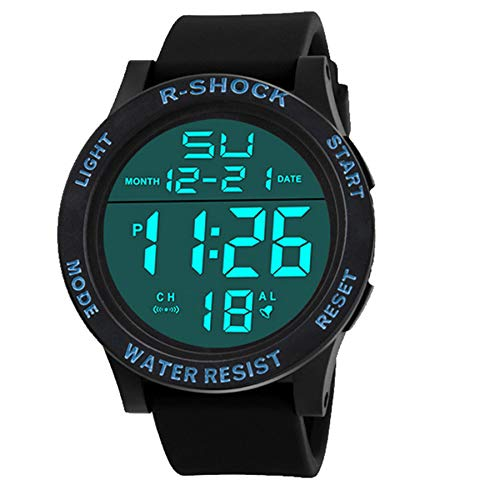 Mens Quartz Watch, VANSOON Men's Boy LCD Digital Stopwatch Date Rubber Sport Wrist Watch Touch Screen Date Silicone Digital Simple Business Waterproof Bracelet ()