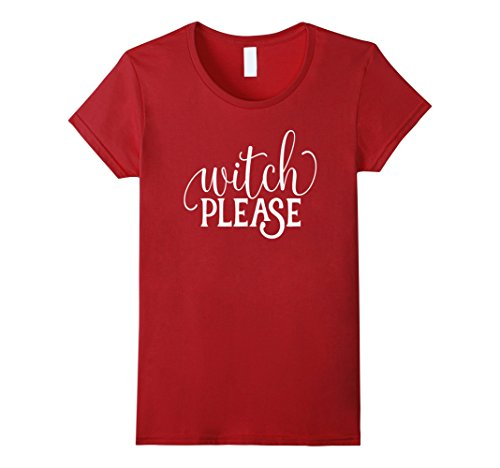 [Women's Funny Halloween Shirt Witch Please Script Costume School Large Cranberry] (Last Minute Cute Halloween Costumes)