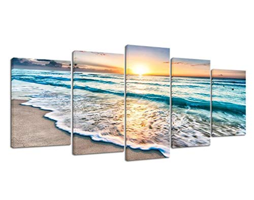 Pyradecor 5 Panels Blue Beach Sunrise White Wave Pictures Painting on Canvas Wall Art Modern Seascape Giclee Canvas Prints Seaview Landscape Artwork for Home Office Decorations (The On Paintings Wall)
