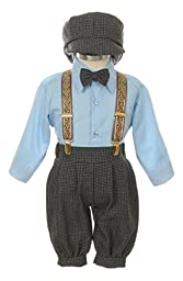 Vintage Dress Suit-Bowtie,Suspenders,Knickers Outfit Set for Boys-Toddler, Houndstooth-Blue-3T