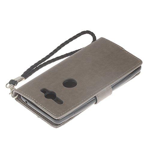 BONROY Sony Xperia XZ2 Compact Lederhülle,Sony XZ2 Compact Schutzhülle Eule Mandala Geprägtes Muster Slim PU Leder Flip Case Wallet Cover with Handschlaufe, Stand Function, Magnetverschluss, Kreditkar Bohrer grau