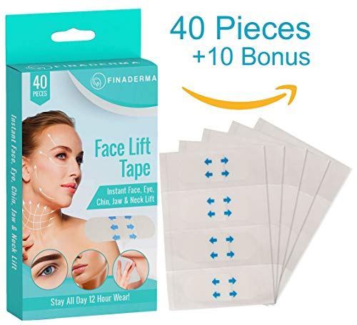 Finaderma Premium Face Lift Tape- Instant Face, Neck, Eye Lifting Patches for Thin Face, V Line, Double Chin Reducer Stickers (50 PCS)