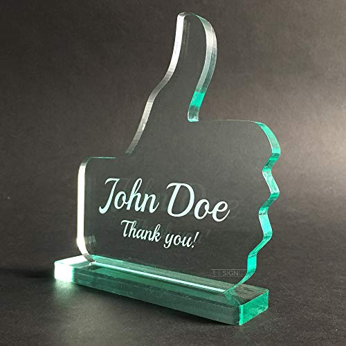 (Personalized Like/Thumbs up Award Trophy Made from Glass-Like Acrylic Customized)