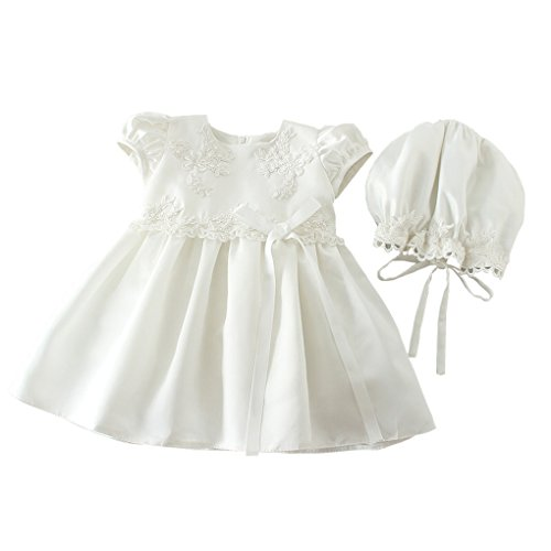 Romping House Newborn Baby Girls Cap Sleeve Floral Embroidered Christening Baptism Dress With Bowknot White Size 18M ()