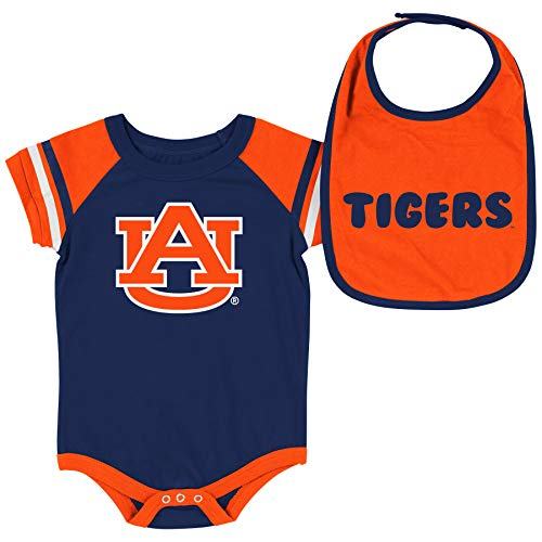 Colosseum NCAA Baby Short Sleeve Bodysuit and Bib 2-Pack-Newborn and Infant Sizes-Auburn Tigers-0-3 Months