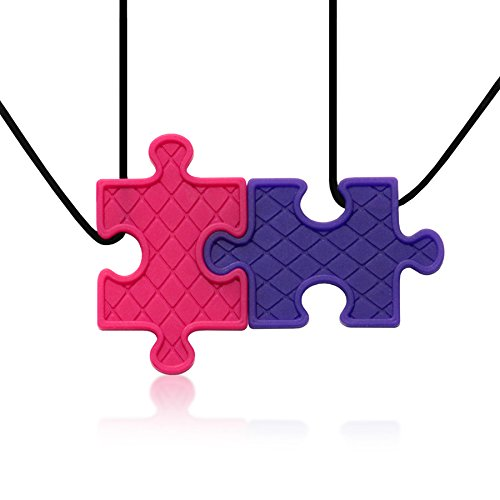 Puzzle Pendant Duo - Silicone Necklaces (Teething, Nursing, Sensory) (Fuchsia Pink/Plum Purple) by Siliconies (Image #6)