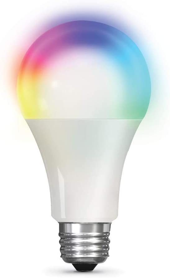 Feit Electric OM100/RGBW/CA/AG 100W Equivalent A19 High-CRI Alexa Google Smart WiFi LED Light Bulb, Multi-Color RGBW