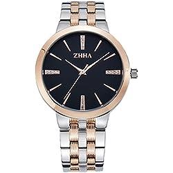 ZHHA 065 Men's Luxury Quartz Black Dial Gold Stainless Steel Bracelet Wrist Waterproof Watch