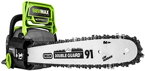 Earthwise LCS35814 14-Inch 58-Volt Cordless Brushless Motor Chainsaw, 2Ah Battery Charger Included