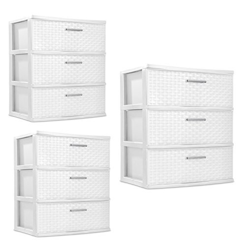 - Sterilite 3 Drawers Wide Weave Tower Plastic Storage Organization- White (White) (Wide Drawer), 3-Pack