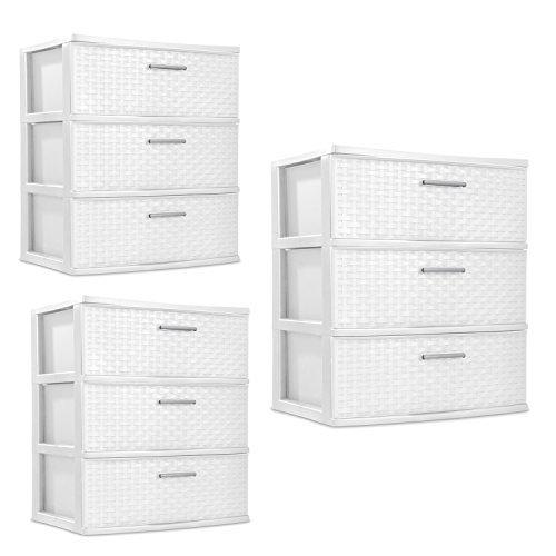 (Sterilite 3 Drawers Wide Weave Tower Plastic Storage Organization- White (White) (Wide Drawer), 3-Pack)