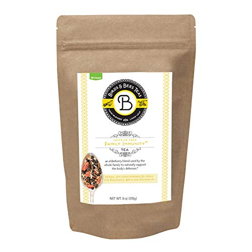 Immune System Booster Elderberry Tea - Organic Family Immunity Blend by Birds & Bees Teas - REFILL - Loose Leaf Tea that can be used to make a yummy Elderberry Syrup Kit. (~40 servings) ()