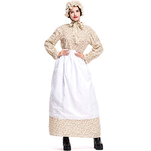 Icevog Colonial Pioneer Woman Period Costumes Vintage Prairie Dresses with Apron and Bonnet for Cosplay in Fourth of July Yellow