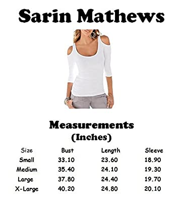 Sarin Mathews Women's Open Cold Shoulder Slim Fit Sexy Blouse Stretch Tank Tops