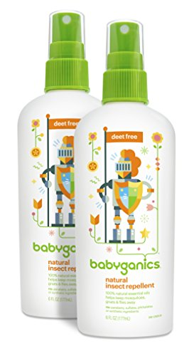 Babyganics Natural Bug Spray, 6oz Spray Bottle (Pack of 2), Packaging May Vary
