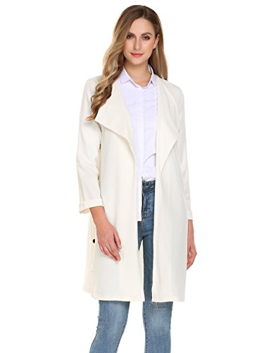 Pinspark Women's Casual Open Front Long Sleeve Solid Outwear Trench Coat Cardigan