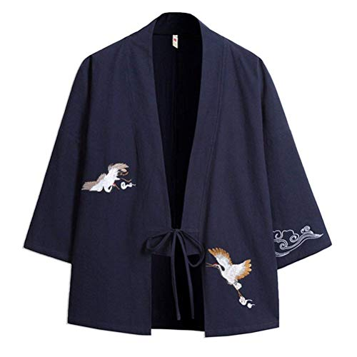 Blue Jacket 4 Navy Youth Haori Jacket Loose Apparel Drawstring Embroidery Casual Open Summer Men's Sleeve Cloak Front 3 Kimono Huixin T4HqvH