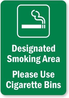 Designated Smoking Area - Please Use Cigarette Bins ,