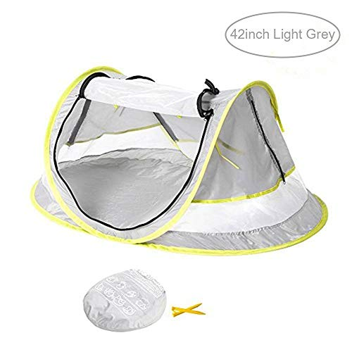 Baby Travel Tent,FOME 42in Ultralight Waterproof Portable Baby Travel Bed UV 50+ Sun Shelters Tent Baby Beach Tent Pop Up Tent Play Tent with 2 Pegs A Carry Bag for Picnic Beach Garden Home