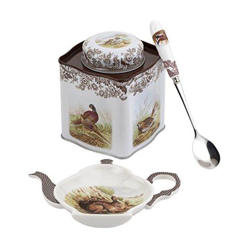 Spode 2019008339 Woodland 3-pc Tea Set (Spoon Rest, Spoon & Tin Caddy)