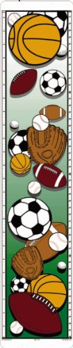 Inspiring Sports design growth chart measures from 24'' all the way up to 6' tall!