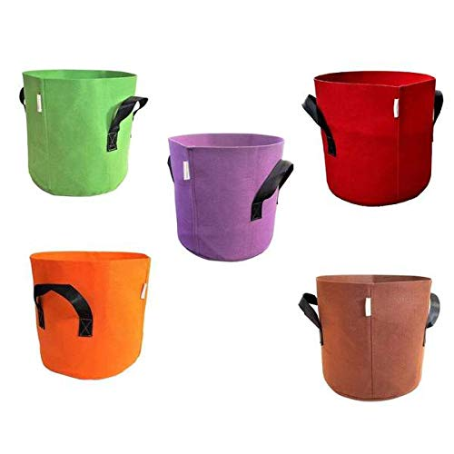 Grow Bags 7 Gallon, Variety 10 Pack, Colored Fabric Pot for Peppers, Potatoes, Tomatoes and Plants