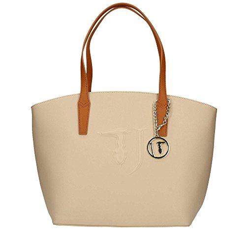 Pelle TRUSSARDI shopping JEANS sintetica Donna Beige Borsa bag Tote CSXzqwB