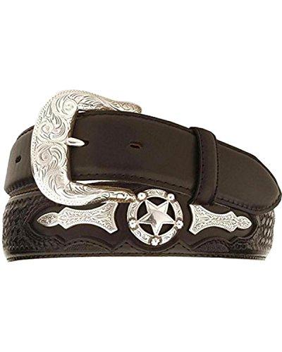 Justin Men's Odessa Star Leather Belt Black - Odessa Stores