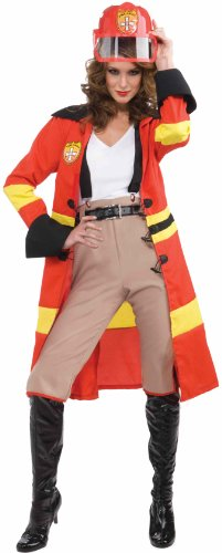 Forum Blazing Beauty Complete Costume, Red, One Size - Womens Firefighter Halloween Costume