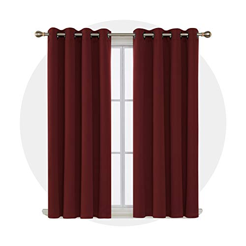 Deconovo Room Darkening Shades Thermal Blackout Curtains Grommet Top Shade Curtains for Office 52W x 63L Inch Maroon Red Set of ()