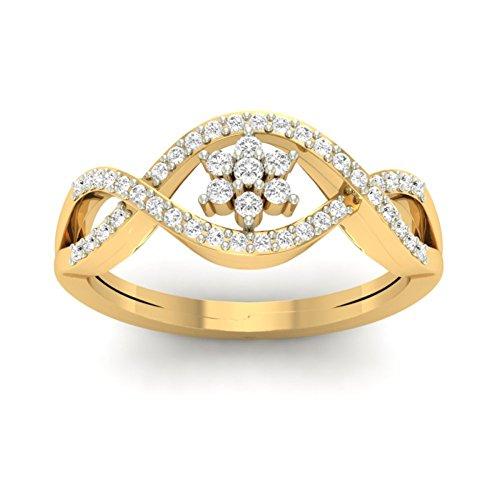 14K Or jaune 0,28CT TW Round-cut-diamond (IJ | SI) en diamant