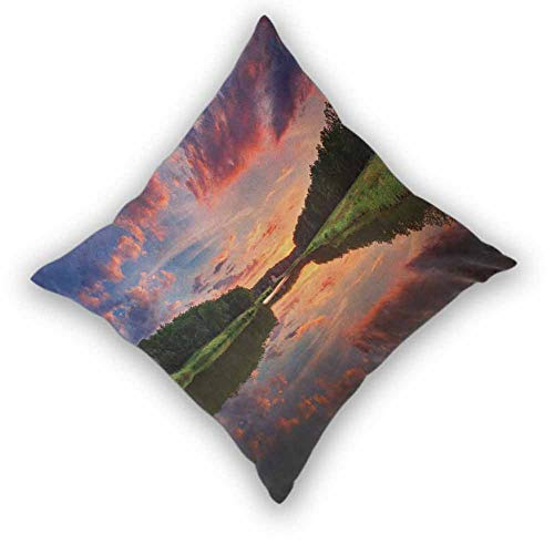 """Americana Square Throw Pillow Cover,Forest Park in Ukraine Scenic Panorama with Water Reflection Picture Print Soft Soild Decorative for Bedroom Living Room Sofa Home Decor, W24""""xL24"""" Green Blue Coral"""