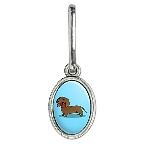 GRAPHICS & MORE Dachshund Wiener Dog Cartoon Antiqued Oval Charm Clothes Purse Suitcase Backpack Zipper Pull Aid