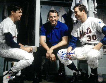 Jerry Koosman Signed Autograph New York Mets Color 16x20 Photo - in locker with Tom Seaver